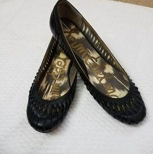 Sam Edelman IANNA Black Twisted Leather Flats